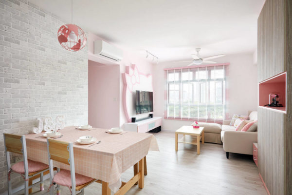Hello Kitty themed HDB BTO flat living and dining by Design 4 Space