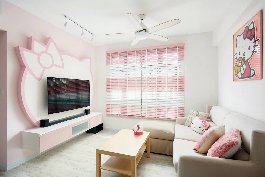 Hello Kitty themed HDB BTO flat living area by Design 4 Space