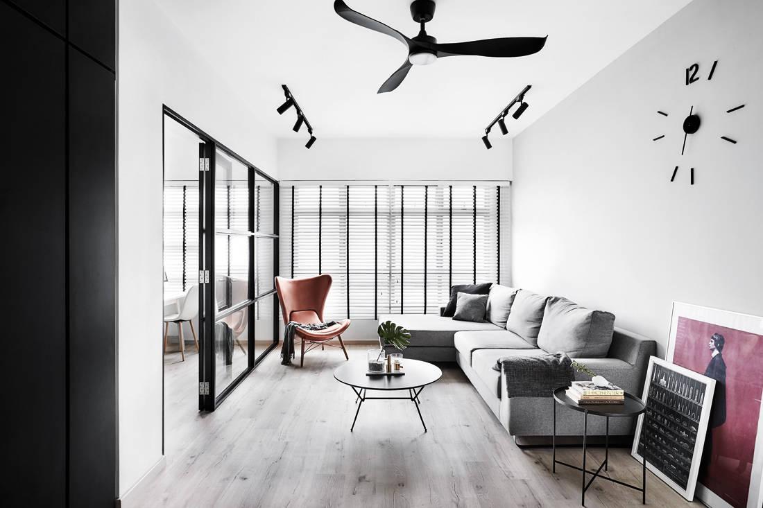 IN-EXPAT minimalist industrial HDB flat living room
