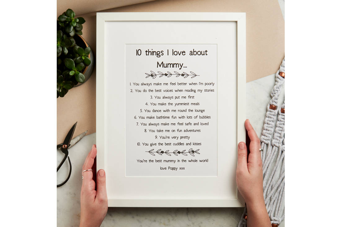 Mother's Day gift idea - Gifts Less Ordinary 10 Things I love About Mummy print