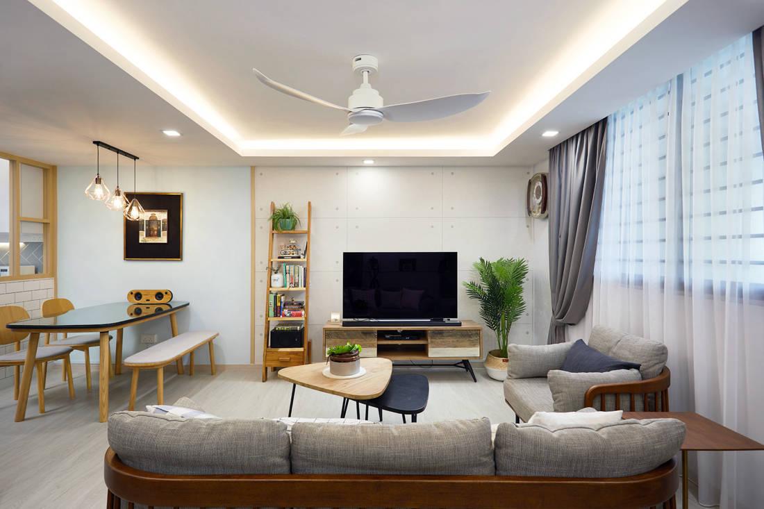 Scandinavian HDB resale flat TV feature wall by Design 4 Space