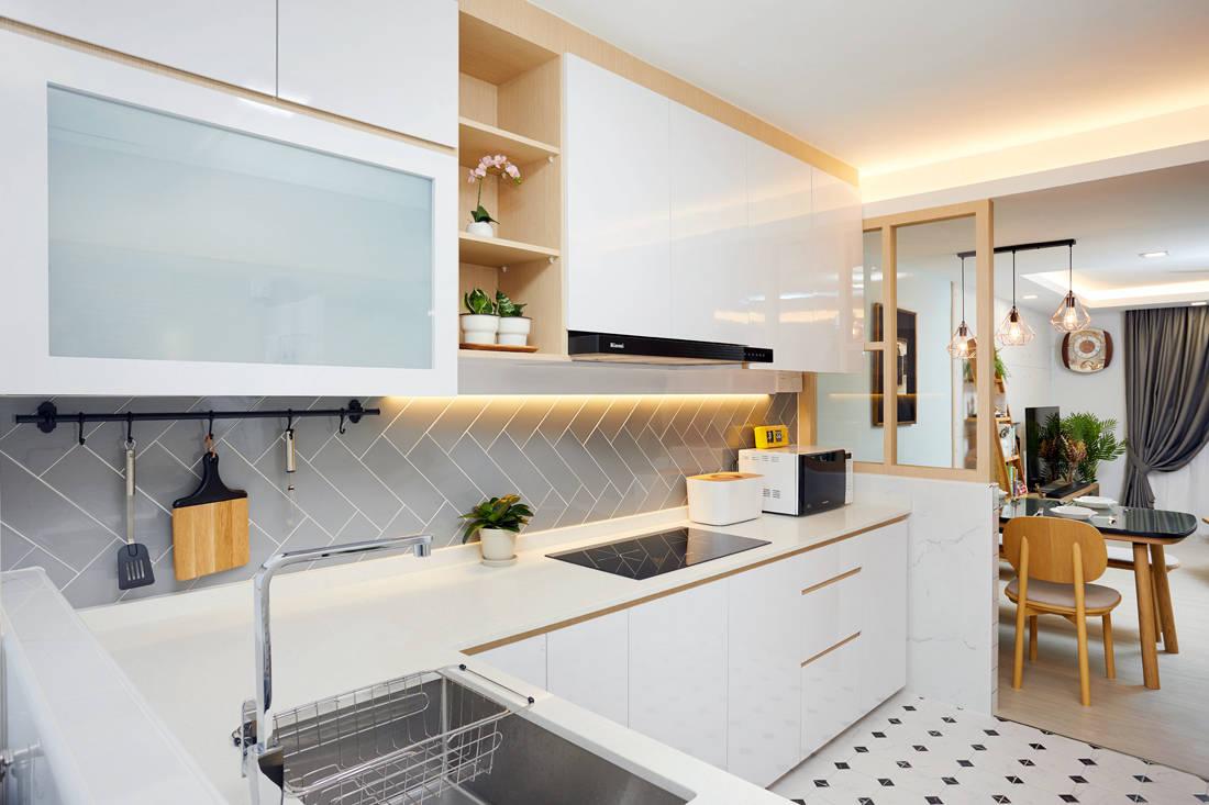 Scandinavian HDB resale flat kitchen by Design 4 Space