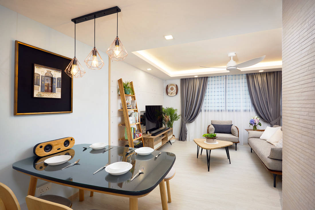 Scandinavian HDB resale flat living and dining by Design 4 Space