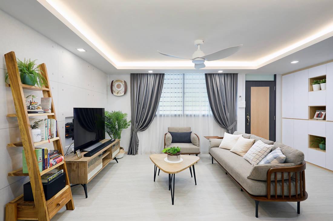 Scandinavian HDB resale flat living area by Design 4 Space