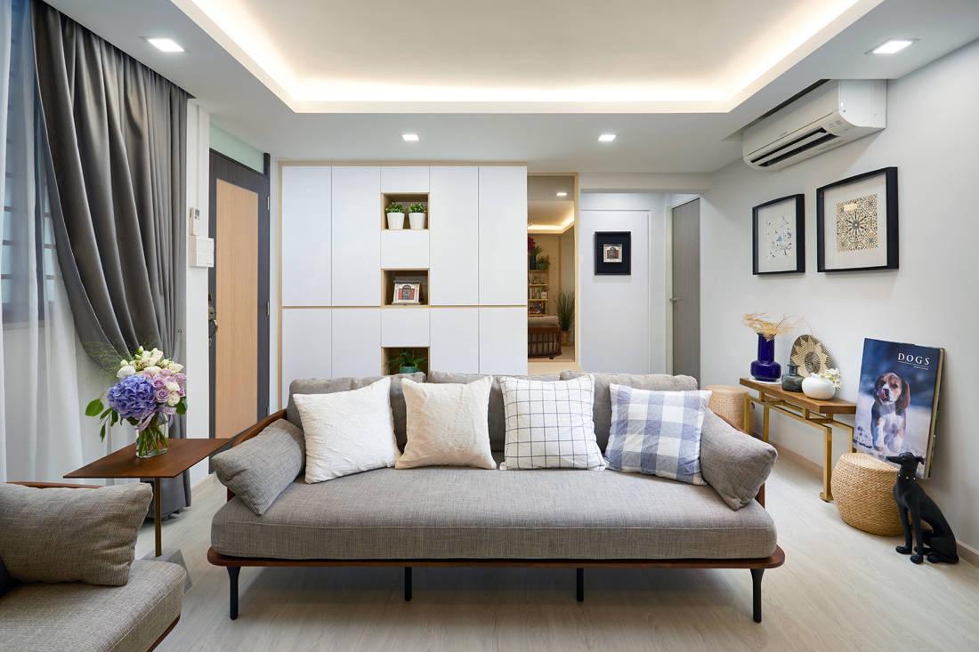 Scandinavian HDB resale flat living room by Design 4 Space