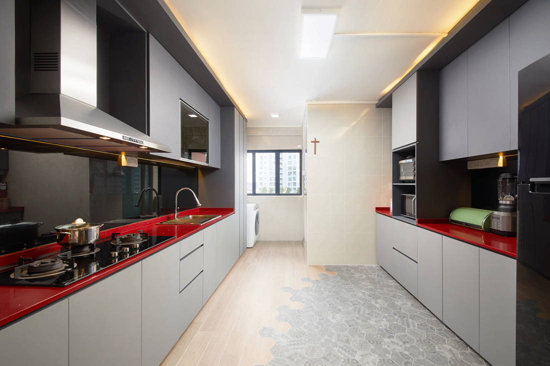 bachelor pad HDB resale flat unconvention designs in kitchen by Design 4 Space