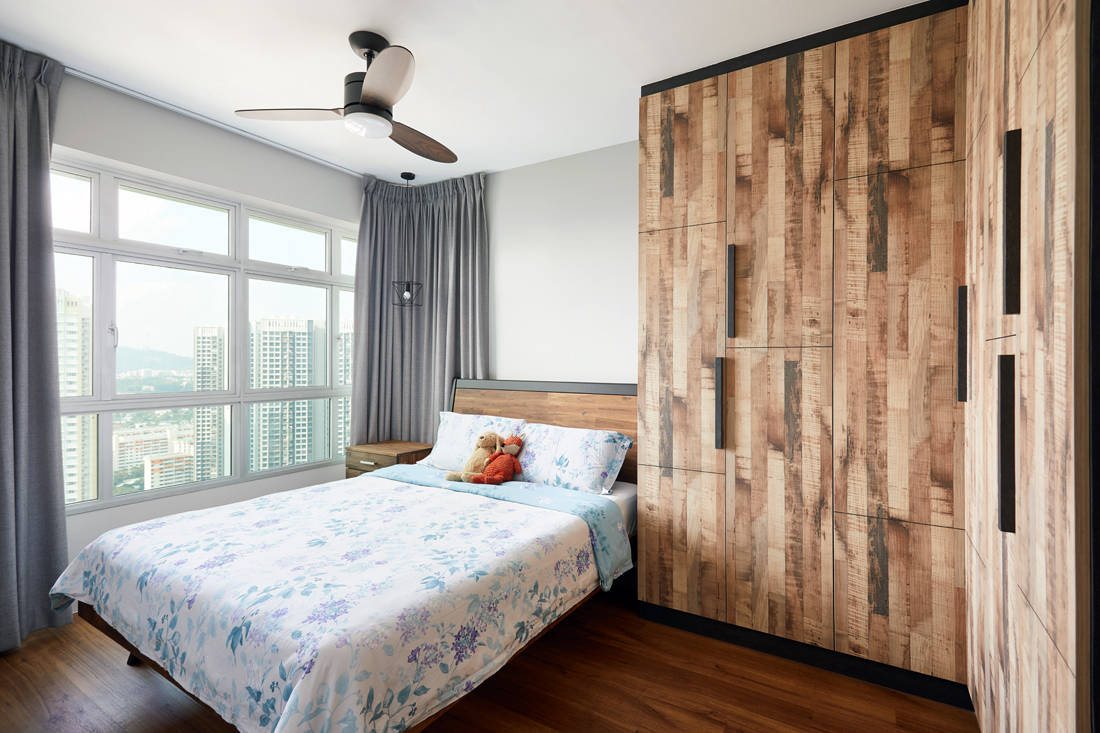 cafe-inspired HDB flat master bedroom by Dots N Tots Interior