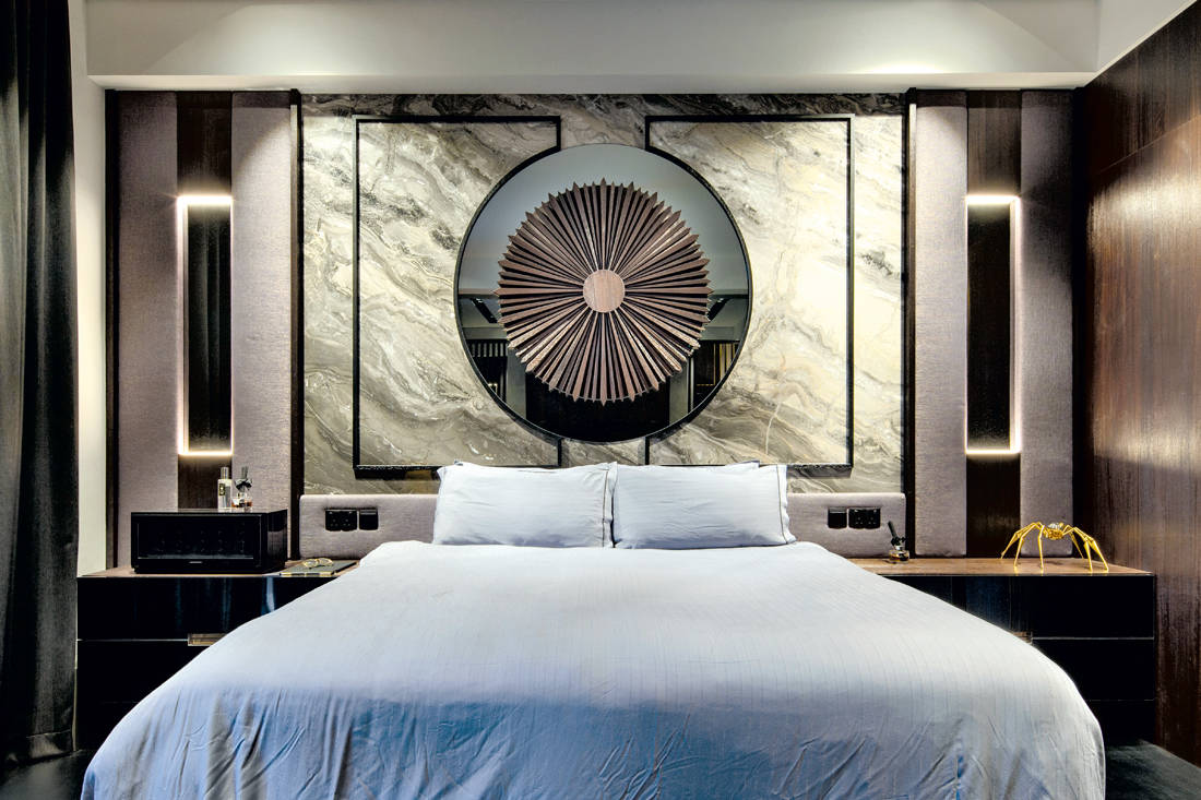 mixed material headboard by Linear Space Concepts