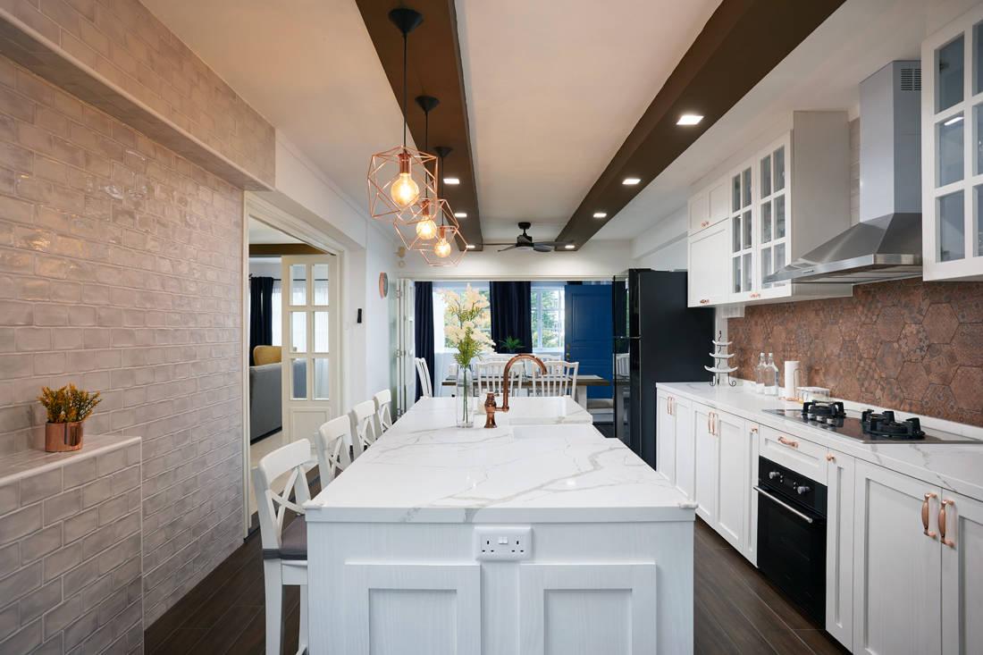 modern farmhouse HDB flat kitchen by Dots N Tots Interior