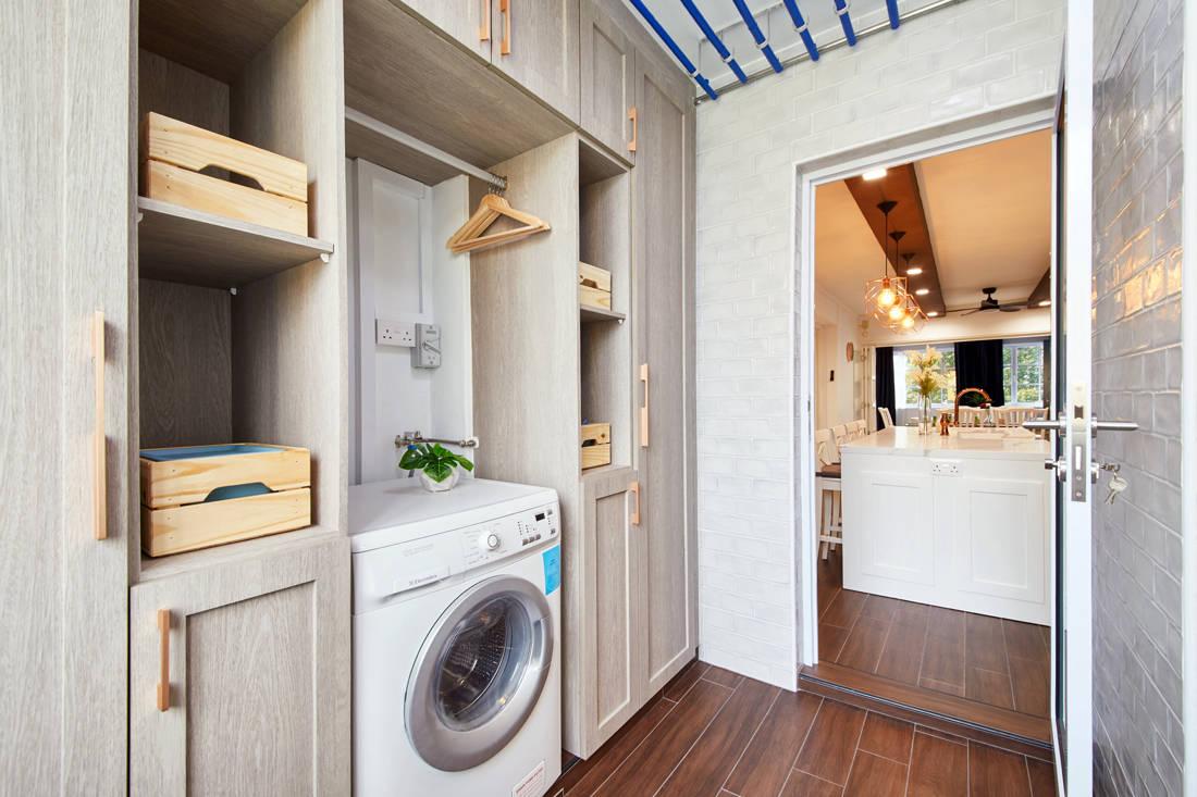 modern farmhouse HDB flat laundry room by Dots N Tots Interior