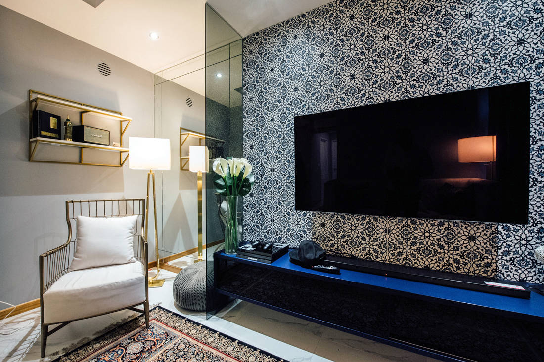 modern moroccan HDB flat TV feature wall by Fatema Design Studio