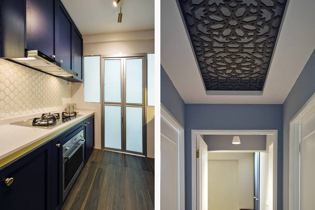 modern moroccan HDB flat kitchen backsplash and ceiling feature by Fatema Design Studio
