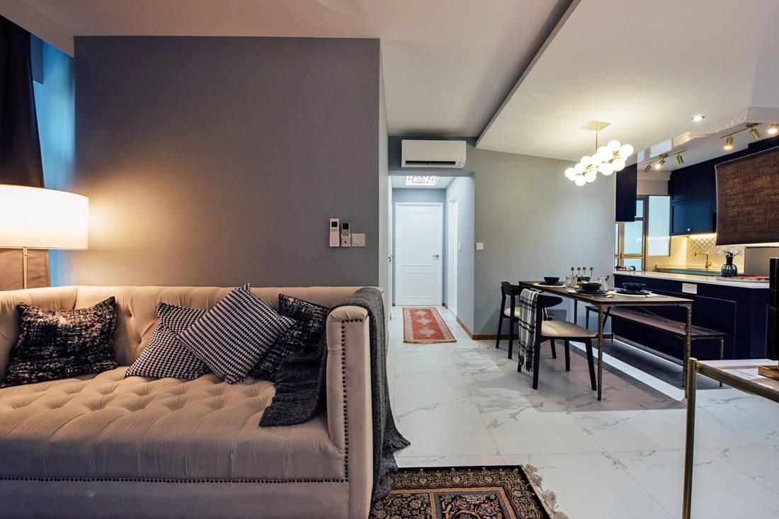 modern moroccan HDB flat open-concept by Fatema Design Studio