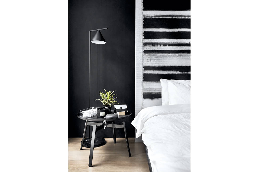 wallpaper headboard by Formwerkz Architects