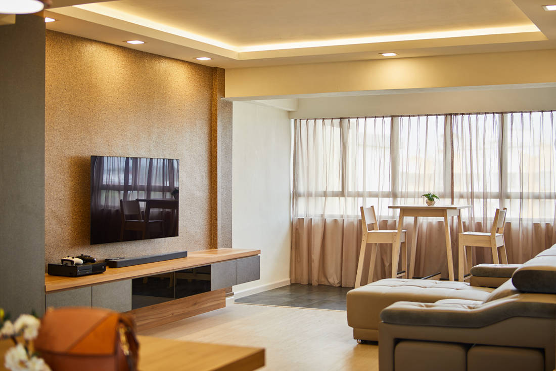 HDB resale flat living area and balcony by Dots N Tots Interior