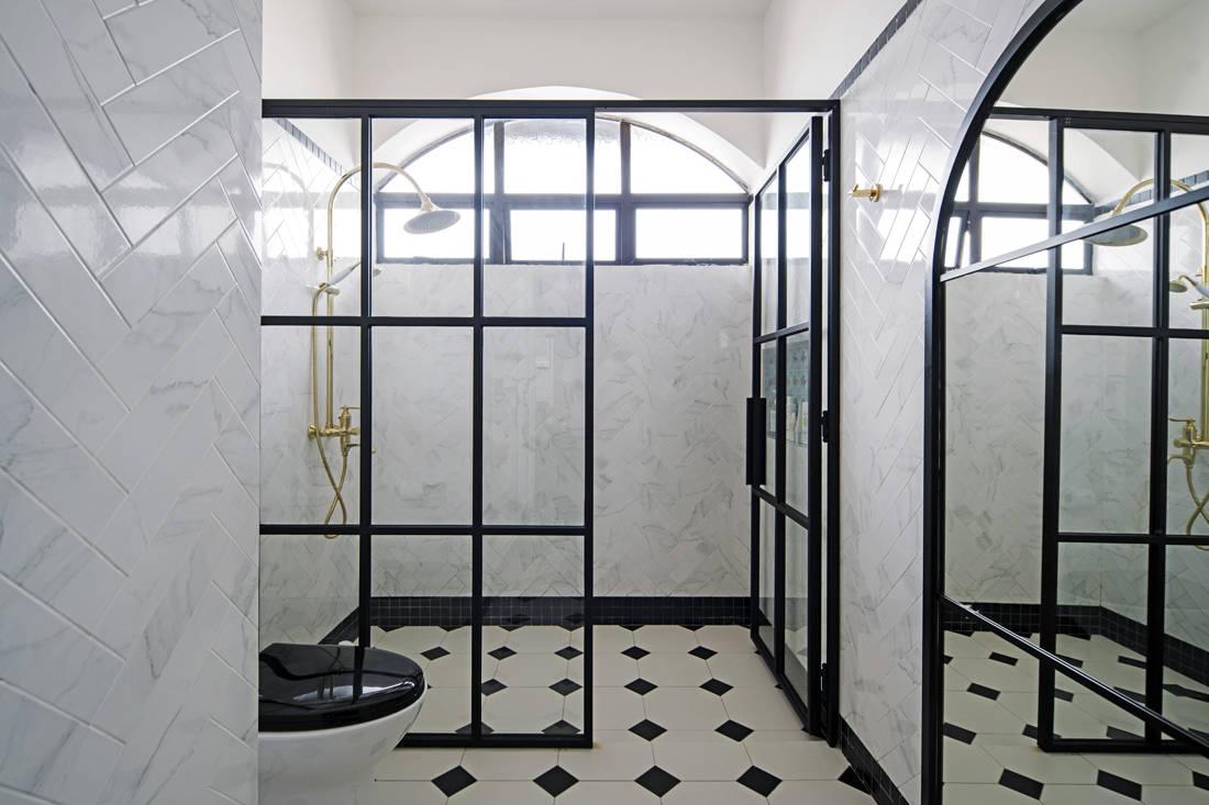 Peranakan meets British colonial terrace house bathroom by LAANK.