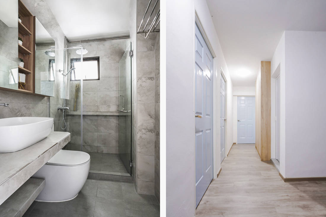 customised solutions in HDB flat bathroom and corridor by Couple Abode