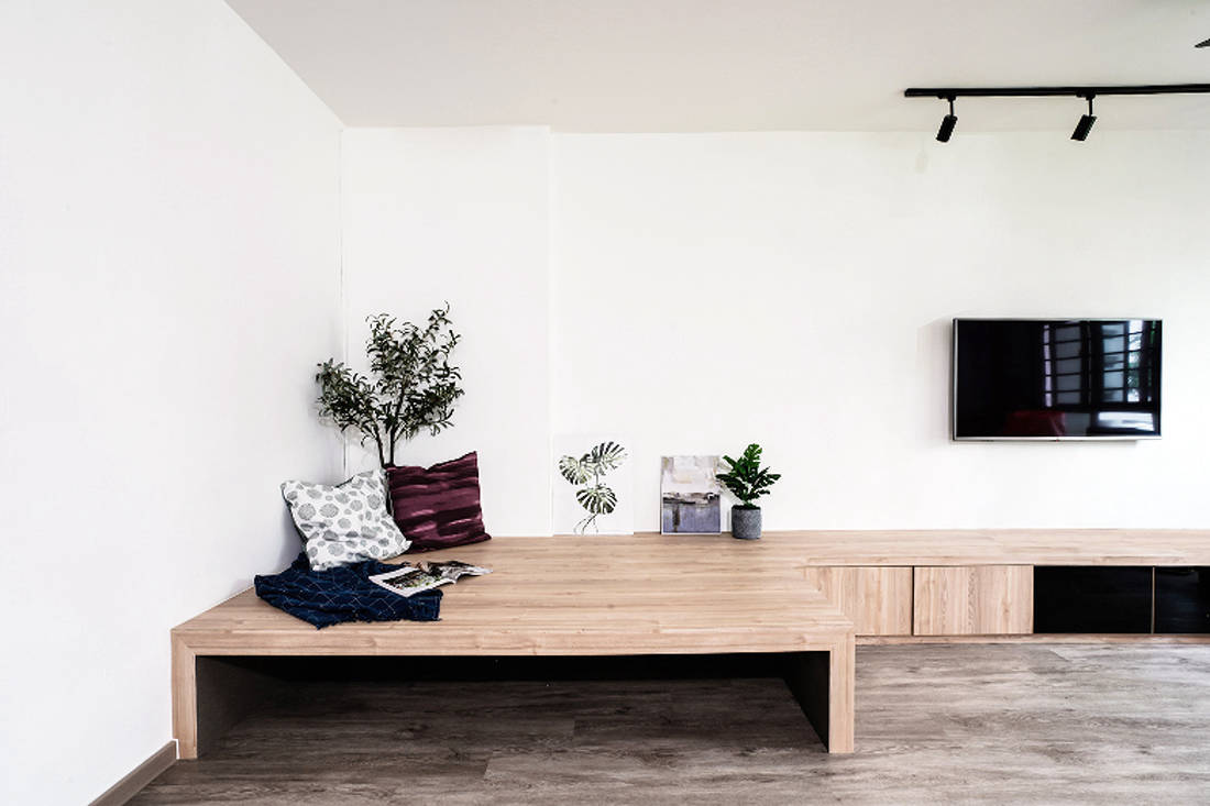 customised solutions in HDB flat living room by Couple Abode