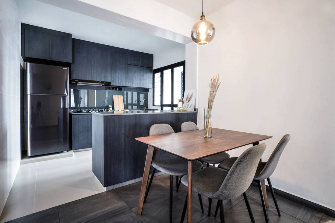 minimalistic HDB flat kitchen and dining designed by Couple Abode