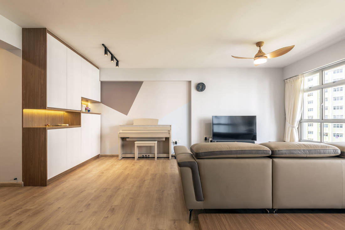 spacious flat living room designed by Metier Planner