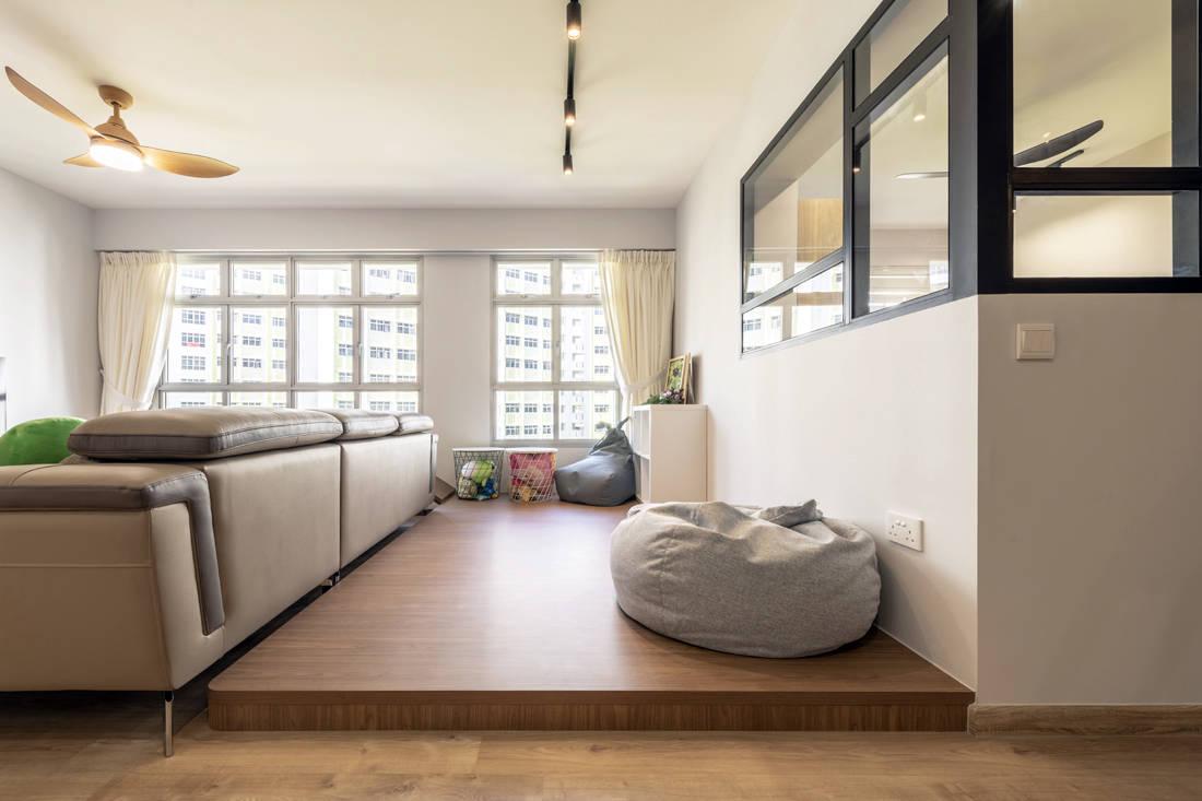 spacious flat living room platform designed by Metier Planner