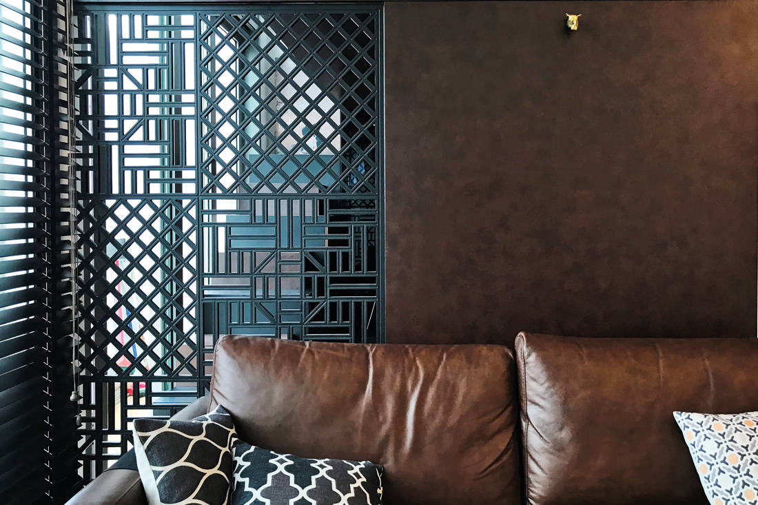 studio apartment fretwork panel by Nest Spatial Design