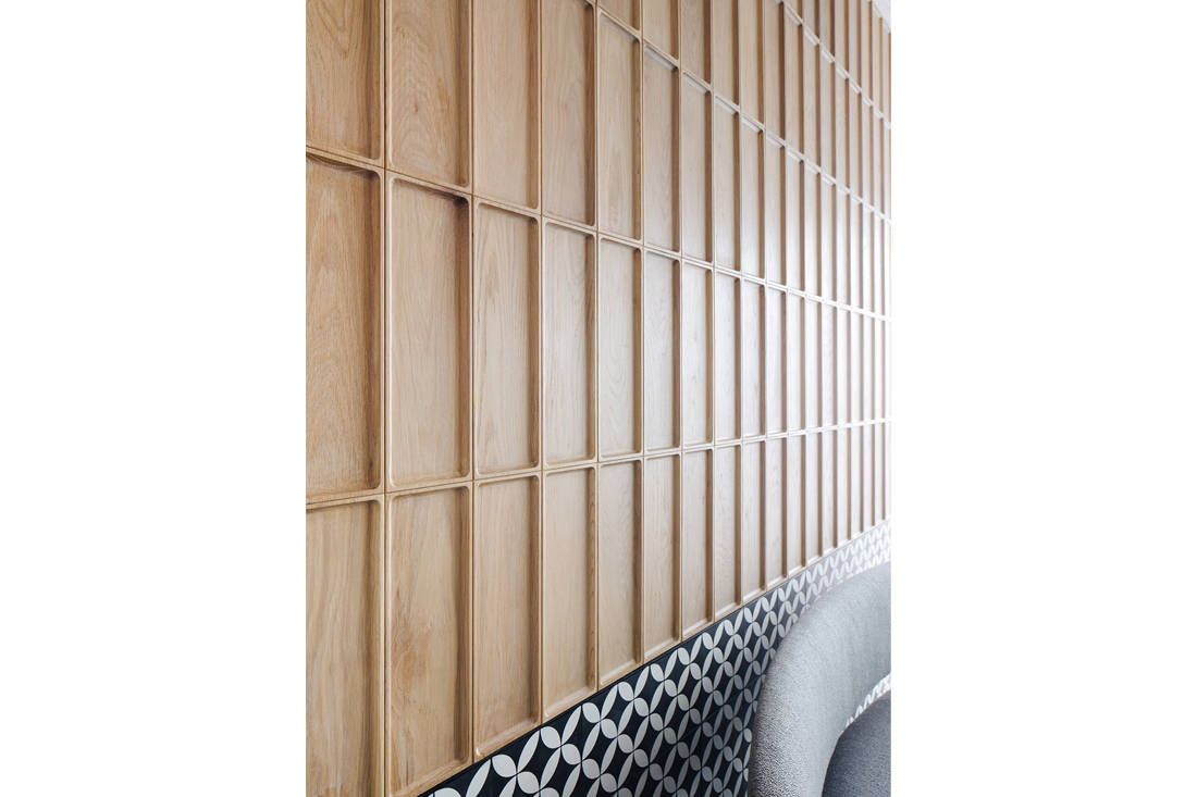 timeless Grange Garden Apartment dining area wall detail by Gabriel Tan