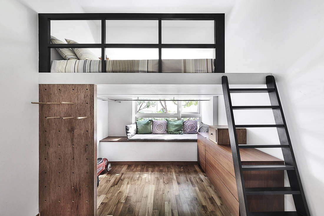 tropical oasis family home helper's room designed by Third Avenue Studio