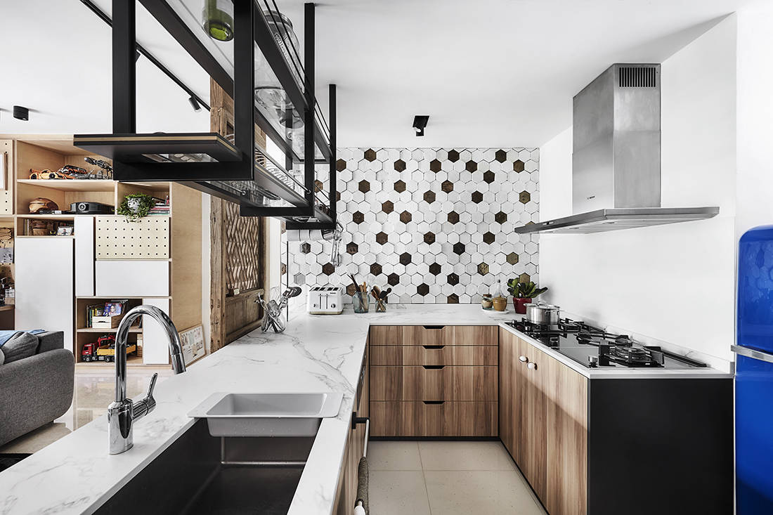tropical oasis family home kitchen designed by Third Avenue Studio
