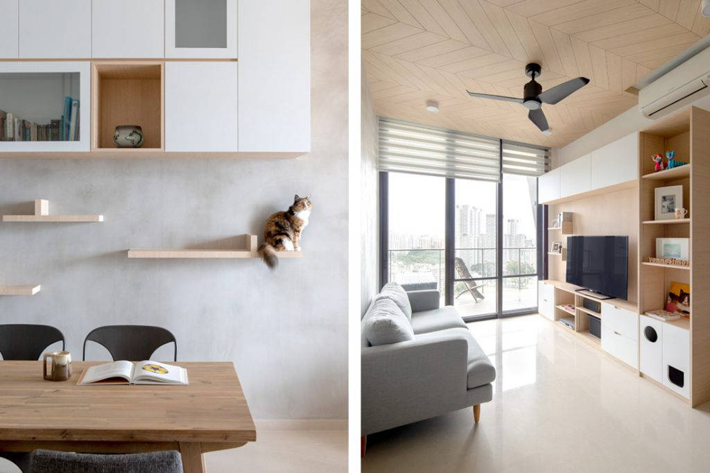 Linear Space Concepts have turned this apartment into a cosy sanctuary that both the owners and their cats can enjoy.