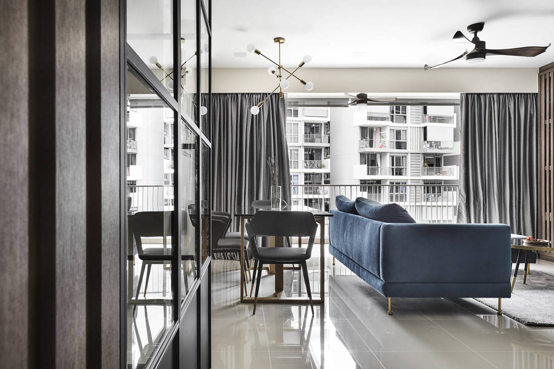 wood and steel accents in condo by Couple Abode