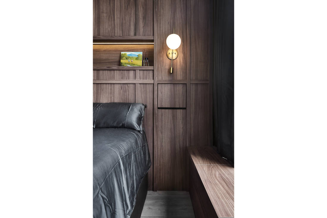 wood and steel accents in condo master bedroom details by Couple Abode