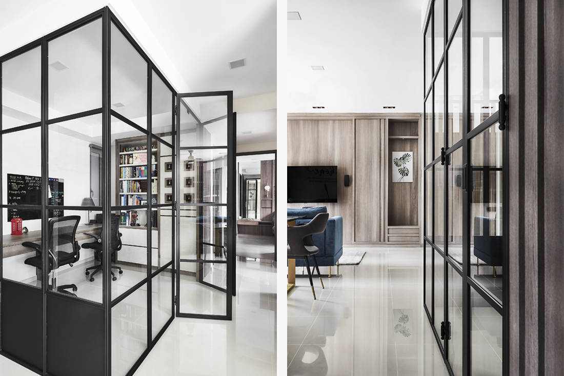 wood and steel accents in condo study details by Couple Abode