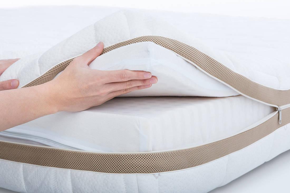 European Bedding Heveya Natural Organic Latex Mattress III bamboo unzipped cover