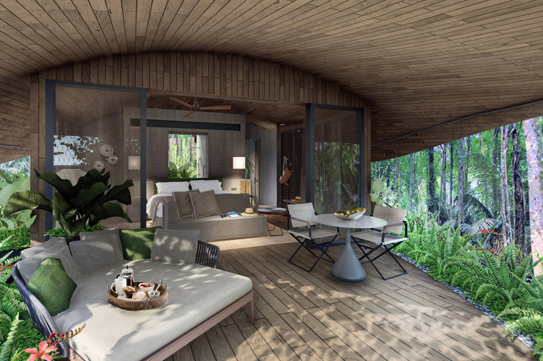 eco-resort in Mandai. Interior illustration of a treehouse room. Image courtesy of Mandai Park Holdings