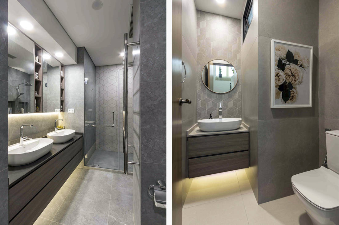 multi-generational living penthouse bathrooms by Fineline Design