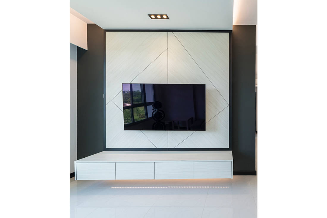 practical TV feature wall in HDB flat by Metier Planner