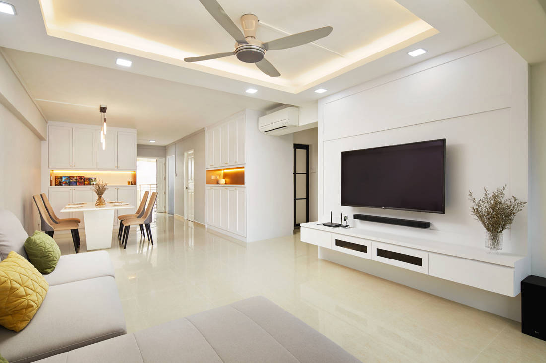 HDB flat living area with good qi by Dots N Tots Interior