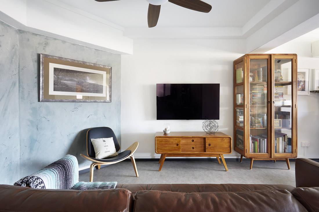 angular walls in resale HDB flat living room by D5 Studio Image
