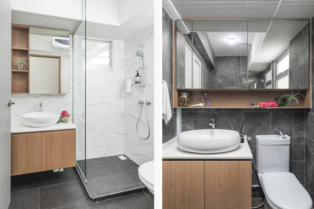 open and closed spaces in bathroom HDB flat by AP Concept