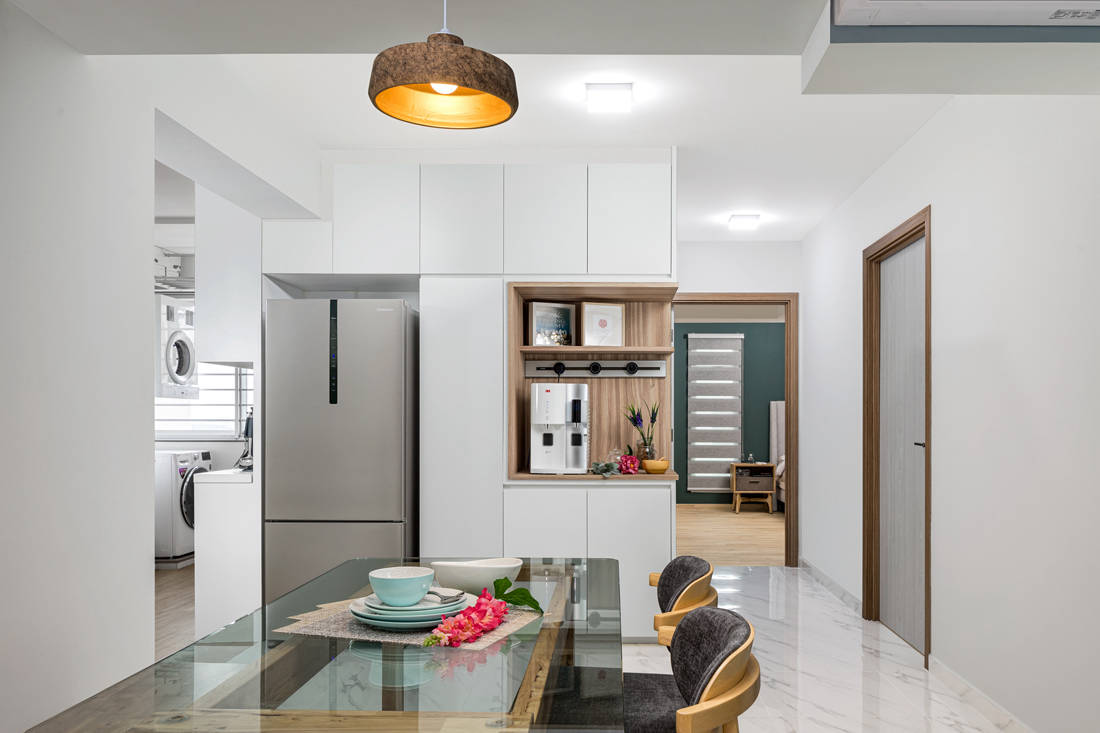 open and closed spaces in dining area HDB flat by AP Concept