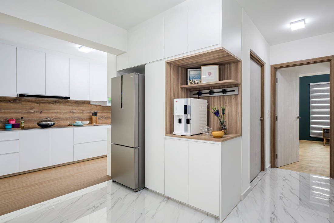 open and closed spaces in dry kitchen HDB flat by AP Concept