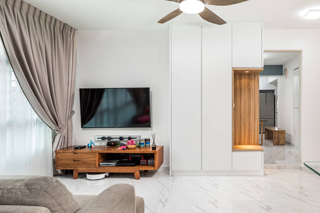 open and closed spaces in living room HDB flat by AP Concept