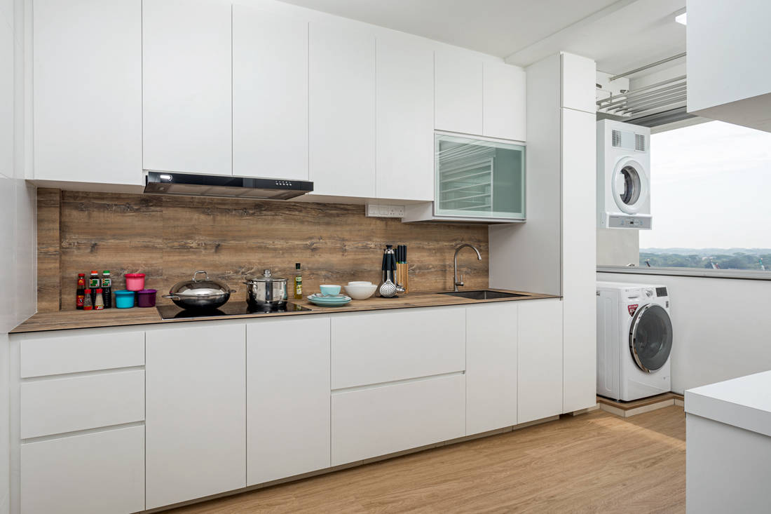 open and closed spaces in wet kitchen HDB flat by AP Concept