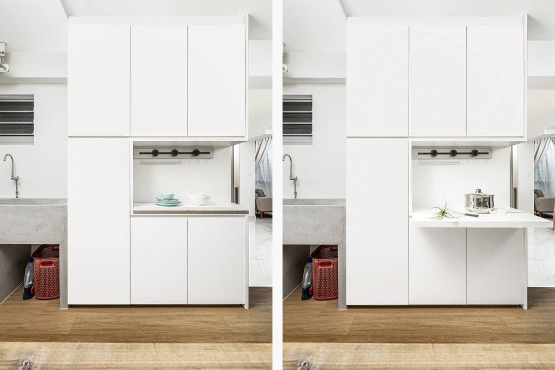 open and closed spaces in wet kitchen & yard HDB flat by AP Concept