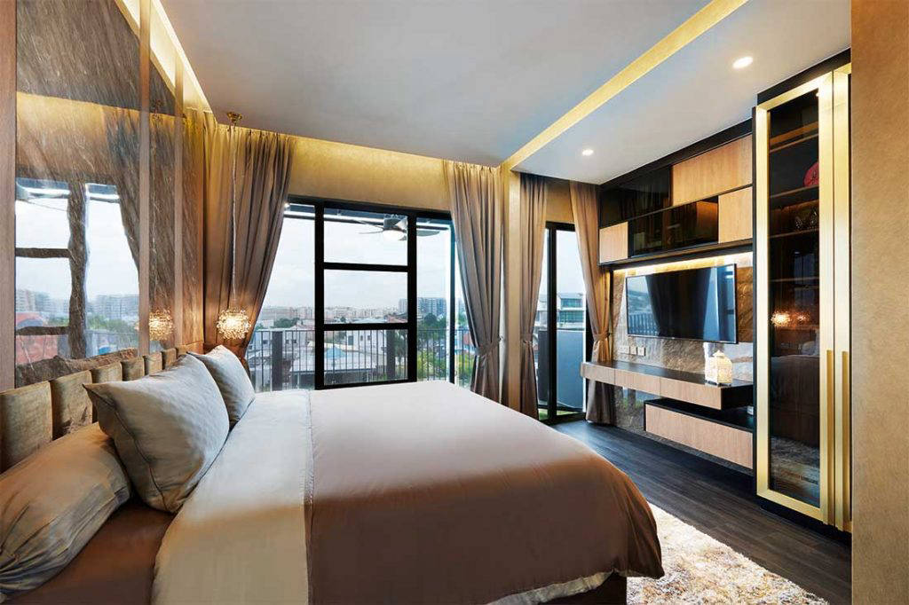 This glamorous penthouse is luxurious looking yet comfortably designed for a married couple and their teenage son.