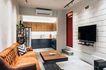 An eclectic walk-up apartment with a quirky layout