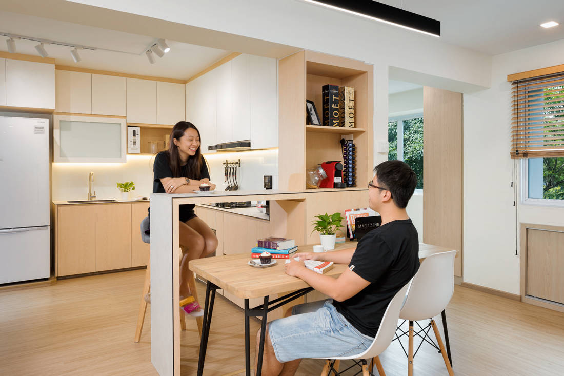 Scandi style resale HDB flat kitchen and dining by AP Concept