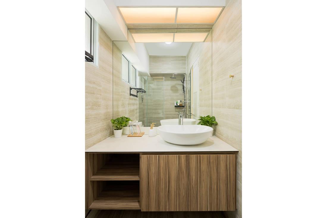 Scandi style resale HDB flat master bathroom by AP Concept