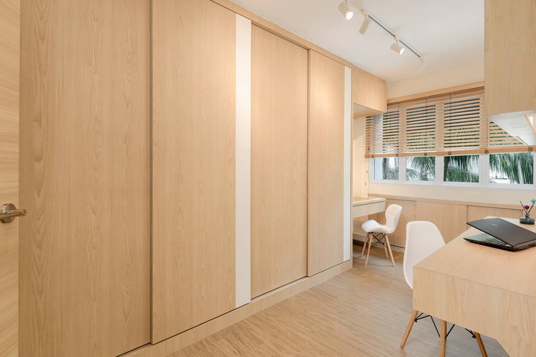 Scandi style resale HDB flat study cum walk-in wardrobe by AP Concept